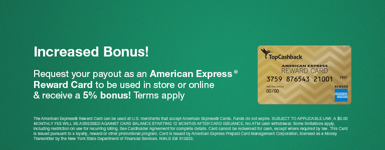5% Payout Bonus on American Express Reward Cards