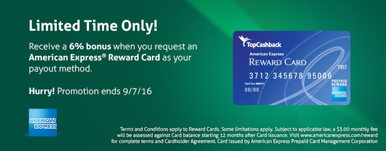 6% Cash Back Bonus For a Limited Time