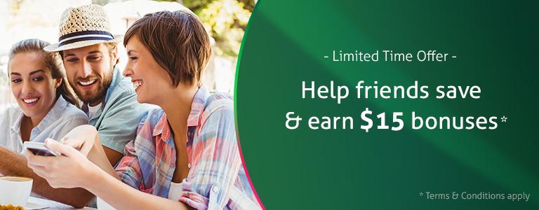 Refer a friend to earn bonus cash back