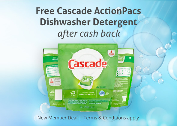 Free Cascade ActionPacs Detergent