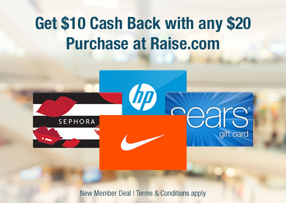 Spend $20 at Raise, Get $10 Back Freebie