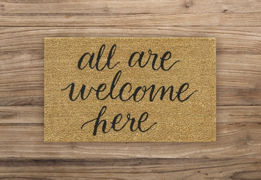 All Are Welcome Here Doormat Freebie