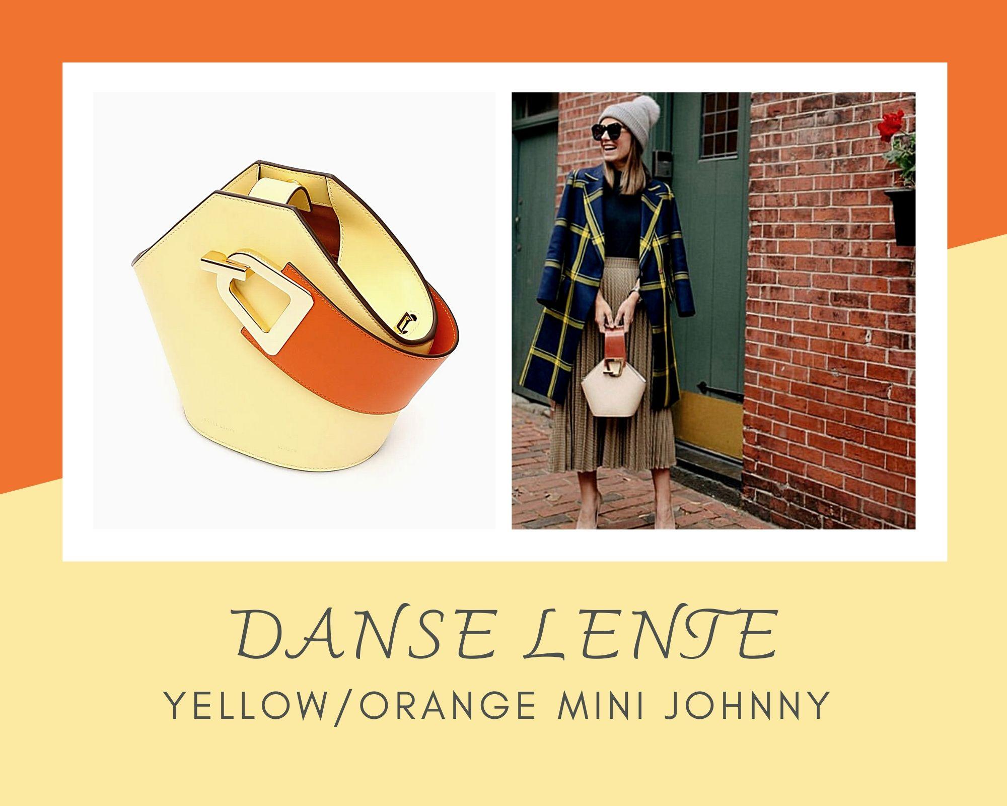 Danse Lente柠檬黄✖火橘色撞色水桶美包