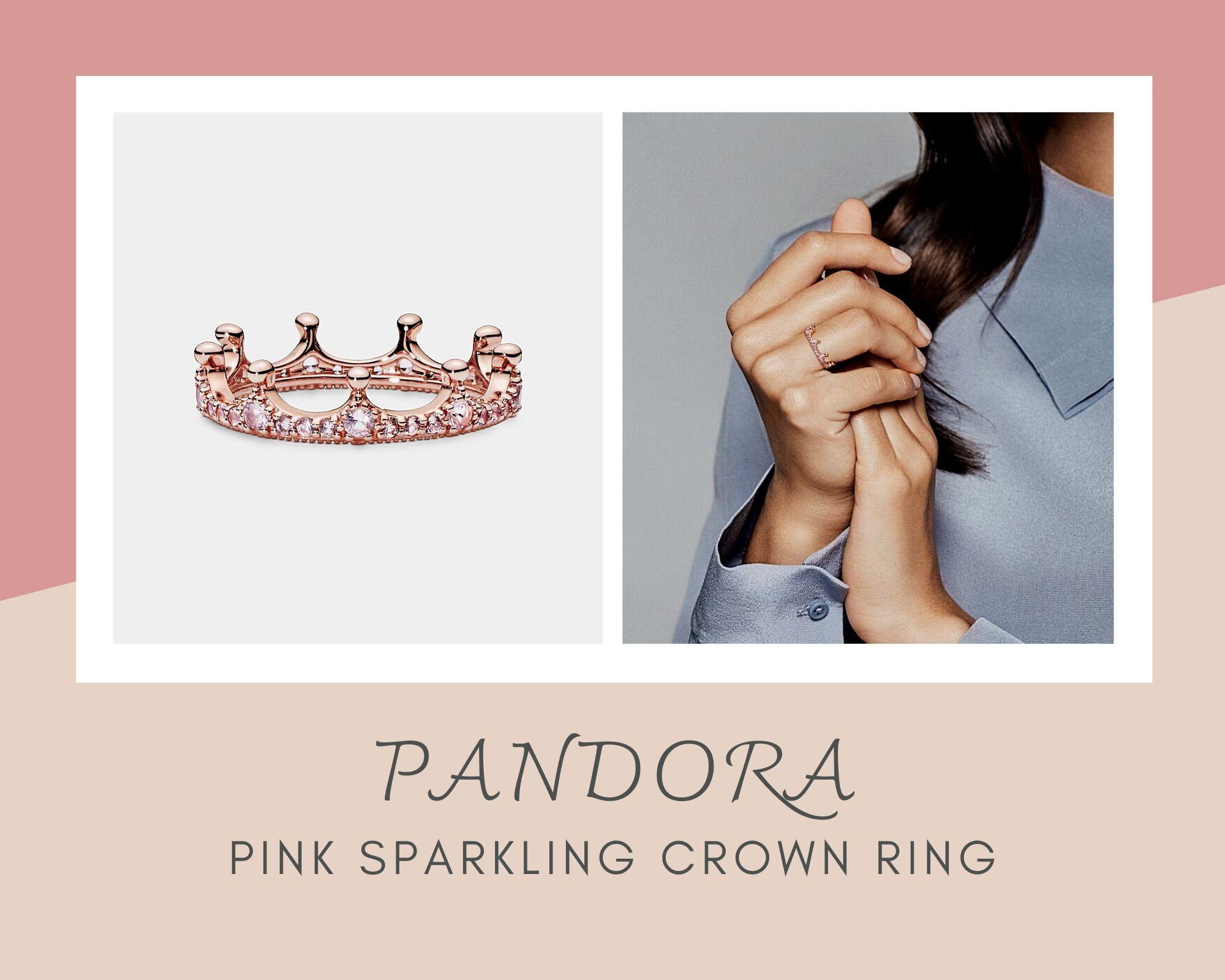Pandora潘多拉粉红皇冠公主戒指