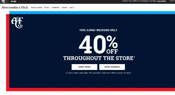 Abercrombie and Fitch  Homepage Image