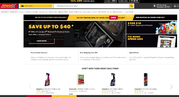 Advance Auto Parts Homepage Image