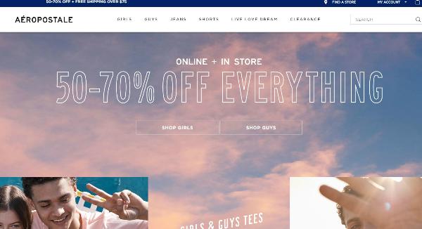 Aeropostale Homepage Image