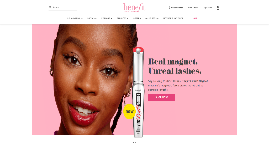 Benefit Cosmetics Homepage
