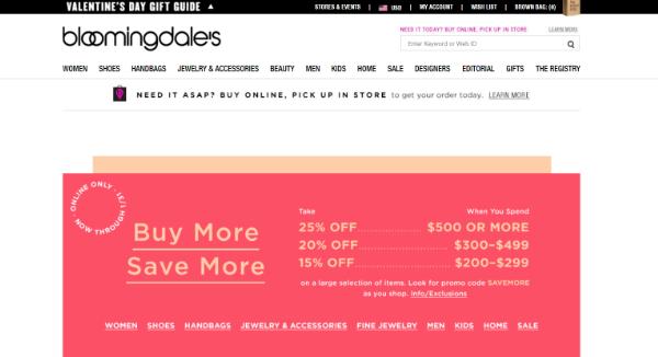 Bloomingdale's Homepage Image