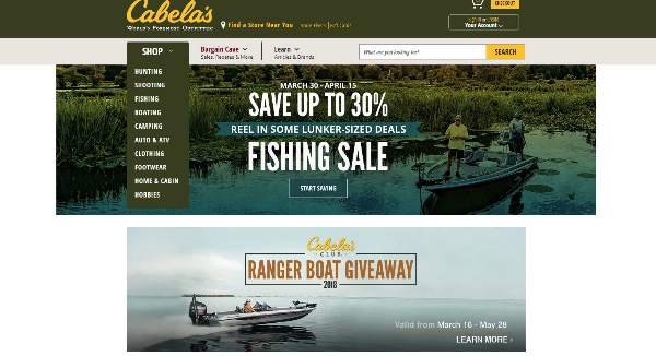 Cabela's Homepage Image