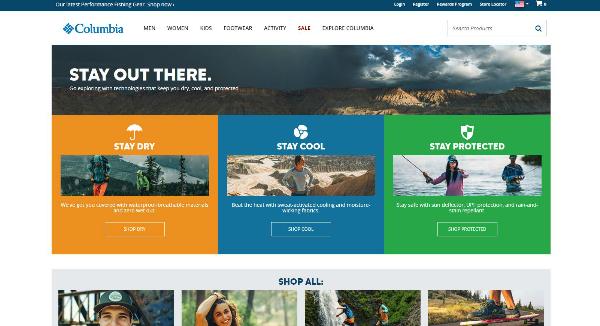 Columbia Sportswear Homepage Image