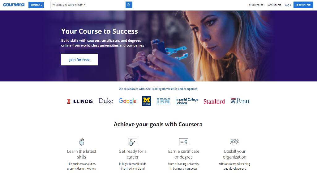 Coursera Homepage Image