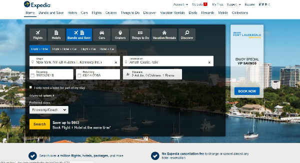 Expedia Homepage Image