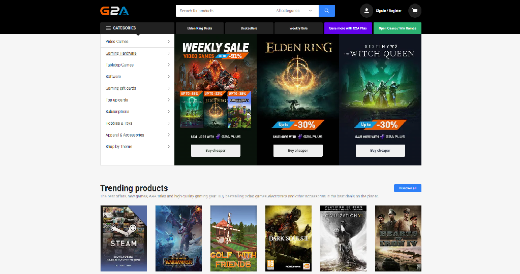 G2A Homepage Image