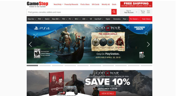 GameStop Homepage Image