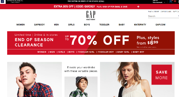 Gap Factory Homepage Image