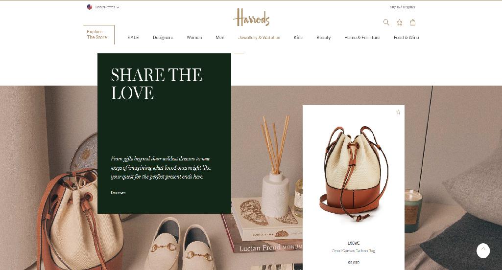 Harrods Homepage Image