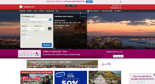 Hotels.com Homepage Image