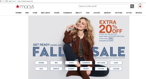 Macy's Homepage Image