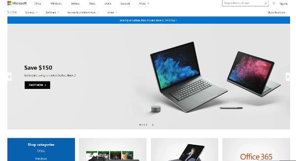 Microsoft Store Homepage Image