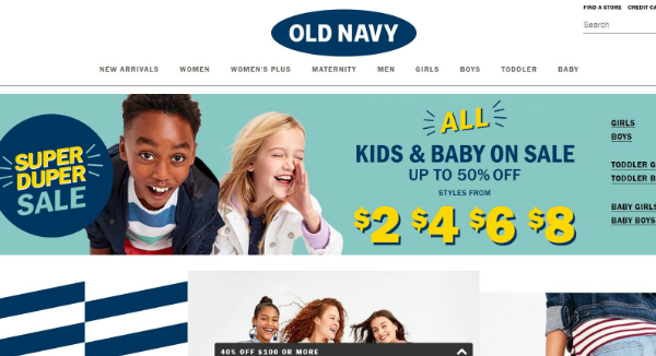 Old Navy Homepage Image