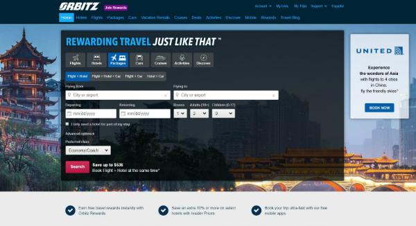 Orbitz Homepage Image