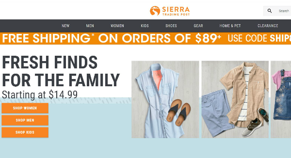Sierra Trading Post Homepage Image