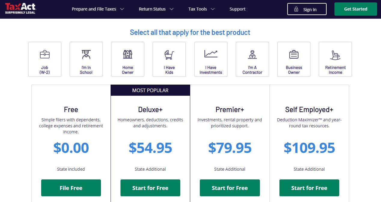 TaxAct Homepage Image