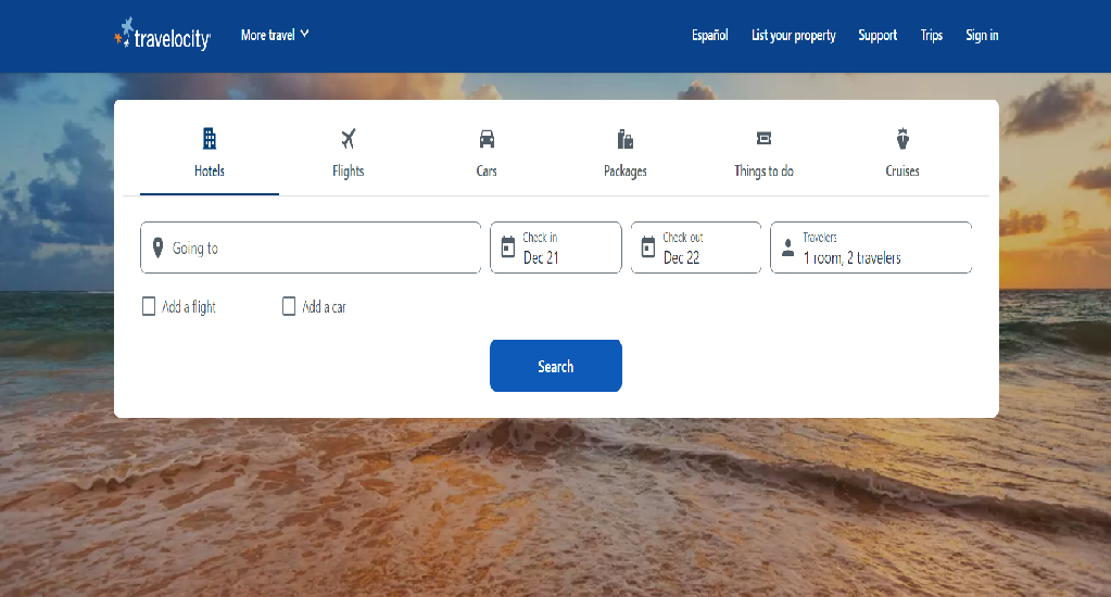 Travelocity Homepage Image